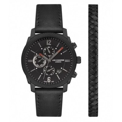 LEE COOPER DUAL TIME WITH LIGHTER BRACELET 42MM MEN`S WATCH  LC07077.651