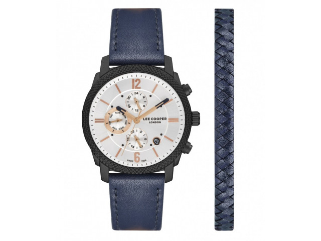 LEE COOPER DUAL TIME WITH LIGHTER BRACELET 42MM MEN`S WATCH  LC07077.639