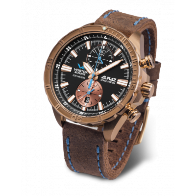 VOSTOK EUROPE ALMAZ CHRONO  BRONZE QUARTZ  47MM MEN'S WATCH 6S11-3200266