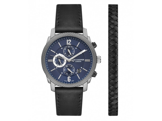 LEE COOPER DUAL TIME WITH LIGHTER BRACELET 42MM MEN`S WATCH LC07077.091