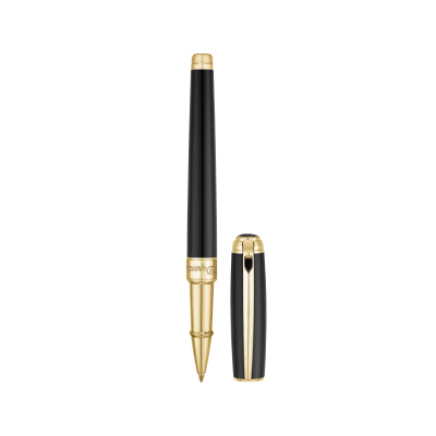 РОЛЕР S.T.DUPONT NEW LINE D MEDIUM BLACK NATURAL LACQUER&YELLOW GOLD 412101M