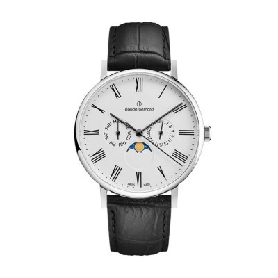 CLAUDE BERNARD SLIM LINE MOON FASE 41MM MEN'S WATCH 40004 3 BR
