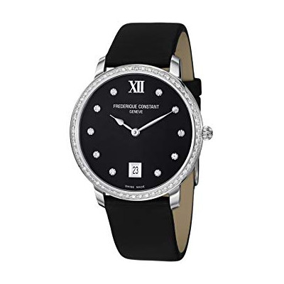 FREDERIQUE CONSTANT SLIMLINE BLACK DIAMOND QUARTZ 37MM LADIES WATCH FC-220B4SD36