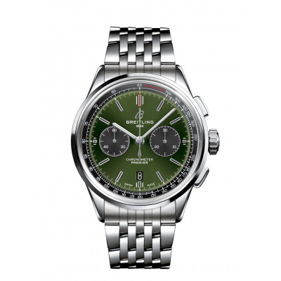 BREITLING PREMIER B01 CHRONOGRAPH 42 BENTLEY BRITISH RACING GREEN MEN'S WATCH AB0118A11L1A1