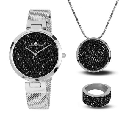JACQUES LEMANS MILANO SWAROVSKI ELEMNTS 36MM LADIES SET 1-2035G