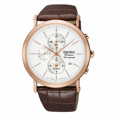 SEIKO PREMIER CHRONOGRAPH QUARTZ  42MM MEN'S WATCH SNAF82P1