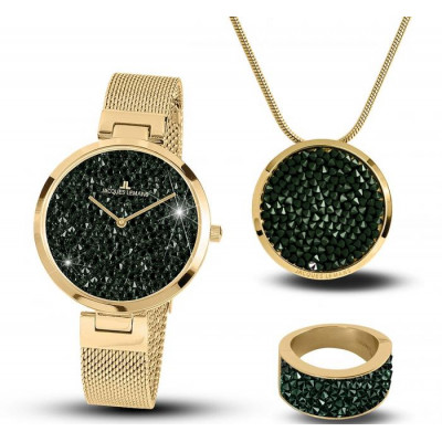 JACQUES LEMANS MILANO SWAROVSKI ELEMNTS 36MM LADIES SET  1-2035L